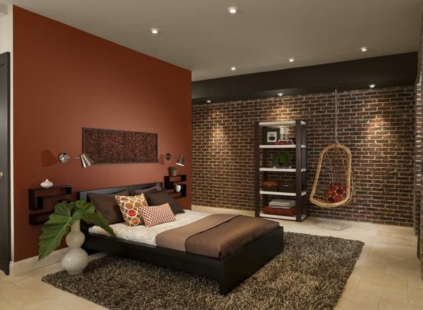wandfarben fellteppich grau schaukel brauntne schlafzimmerwand trennwand