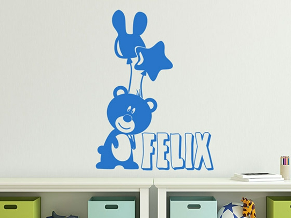 wandgestaltung babyzimmer gestalten wandtattoo tiere bärchen name