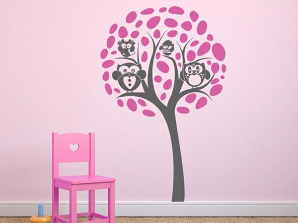 wandgestaltung kinderzimmer einrichten wandtattoo baum eulen rosa wandfarbe mädchenzimmer
