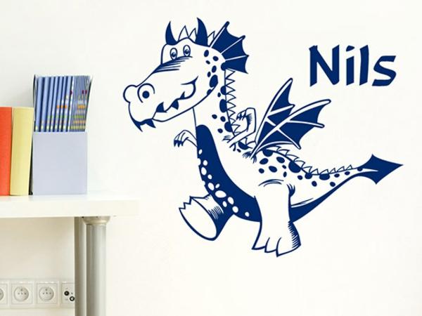 wandgestaltung kinderzimmer jungenzimmer einrichten wandtattoo tiere dinosaurier