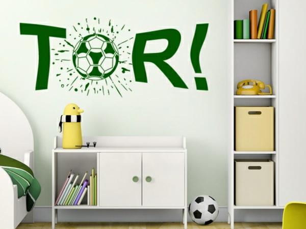 wandgestaltung kinderzimmer jungenzimmer einrichten wandtattoo tor fußball