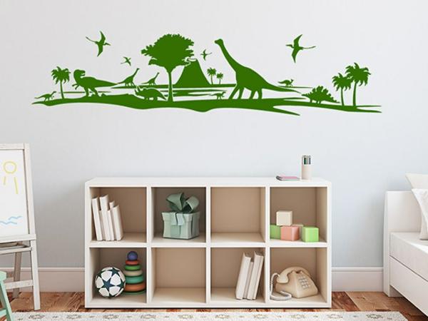 wandgestaltung kinderzimmer jungenzimmer wandtattoo tiere dinosaurier grün