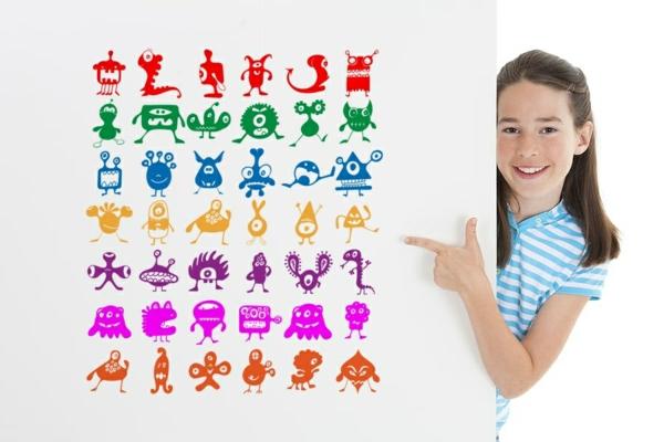 wandgestaltung kinderzimmer wandtattoos kunterbubnt wandsticker selbstklebend