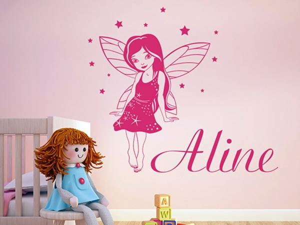 wandgestaltung kinderzimmer wandtattoos schrift name fee wandfarbe rosa