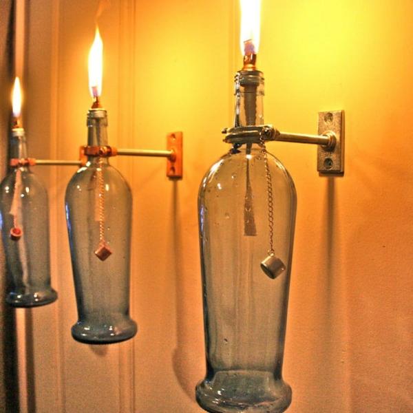 wandleuchten diy lampe weinflasche dekoideen