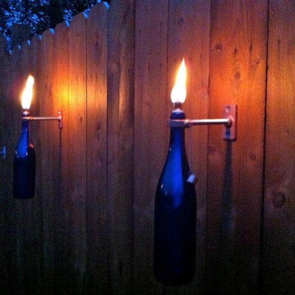 wandleuchten diy lampe weinflasche kerzenleuchter