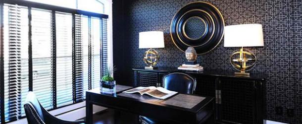 wandtapeten muster homeoffice dekorieren geometrische muster büromöbel