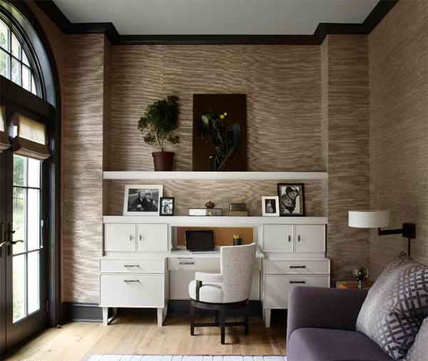 wandtapeten muster homeoffice dekorieren wandgestaltung ideen büromöbel