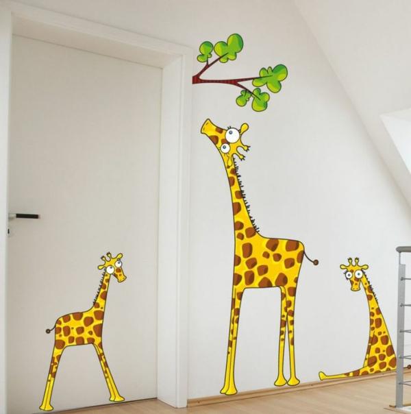 wandtattoos kinderzimmer kreative wandgestaltung wandaufkleber giraffen familie