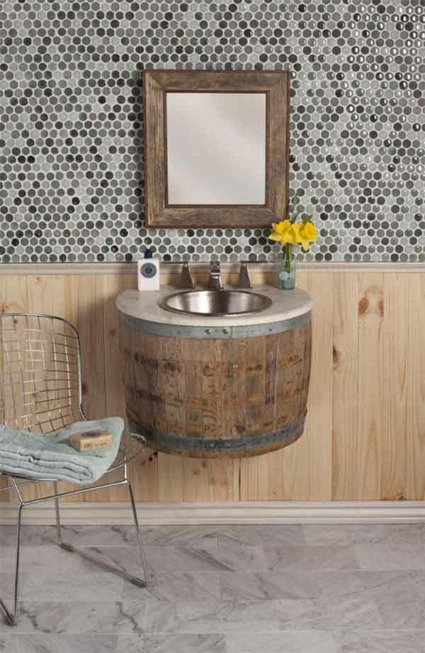 weinfass stehtisch diy möbel badezimmer möbel holzfass waschbecken unterschrank