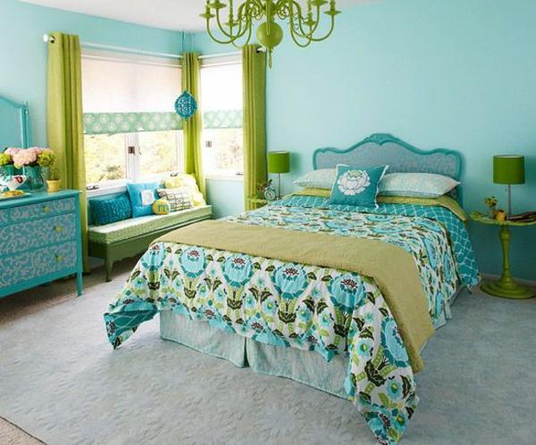 wohnzimmer grün türkis:wohnideen farbideen schlafzimmer grün und türkis