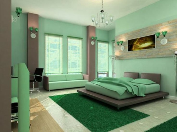 Farbideen Schlafzimmer Sommer Farben Grne Wandgestaltung   Wandgestaltung  Schlafzimmer Braun