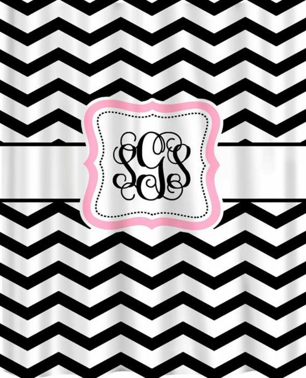 dekorationsvorschläge gardinen  chevronmuster schwarz weiß