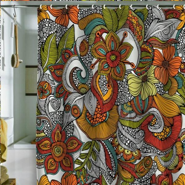dekorationsvorschläge gardinen  duschvorhänge blumenmuster