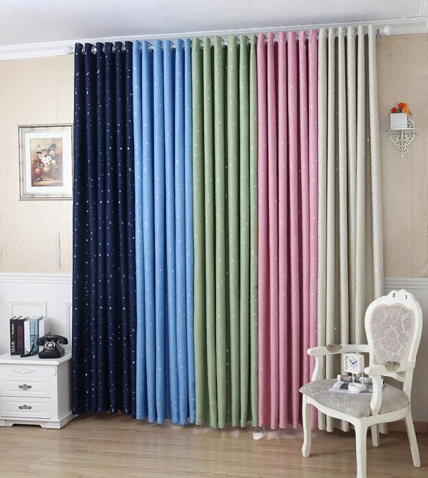 gardinen dekorationsvorschläge glänzende sternen vorhänge seide