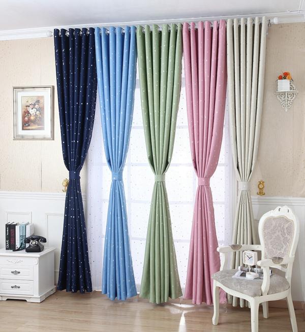 gardinen dekorationsvorschläge glänzende sternen