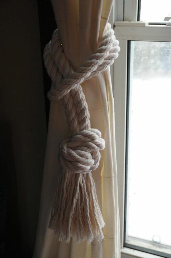 gardinen dekorationsvorschläge seil raffhalter