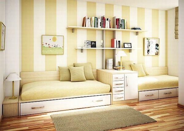 jugendzimmergestaltung 2 betten gelb wandregal