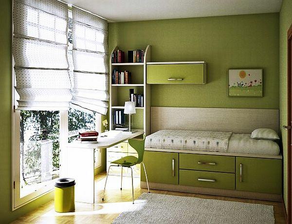 jugendzimmergestaltung grüne wandgestaltung schreibtisch