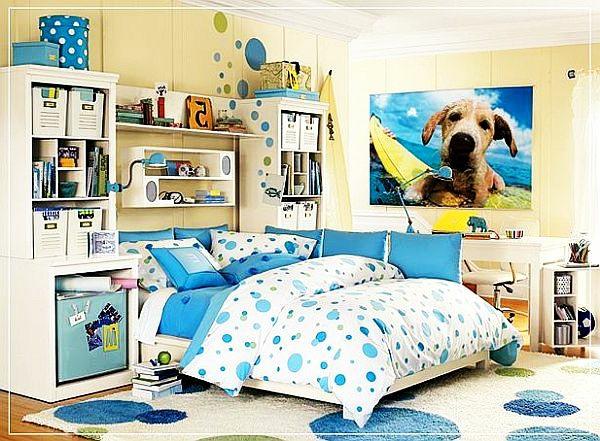jugendzimmergestaltung in blau teppich punktmuster