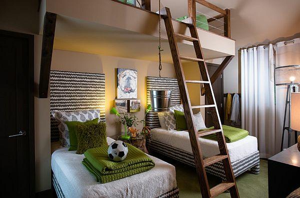 jugendzimmergestaltung stockbett treppe grüne dekoideen