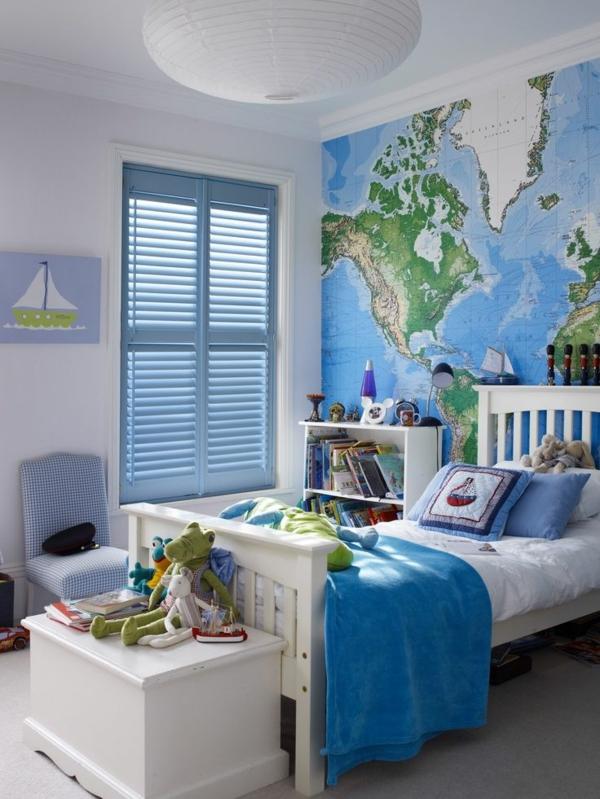 wohnideen kinderzimmer rollos blau
