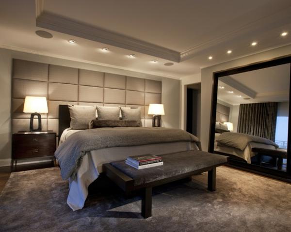 schlafzimmer ideen zeitgenössisch einbauleuchten bett