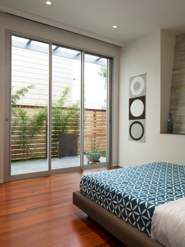 schlafzimmer ideen zeitgenössisch glastür