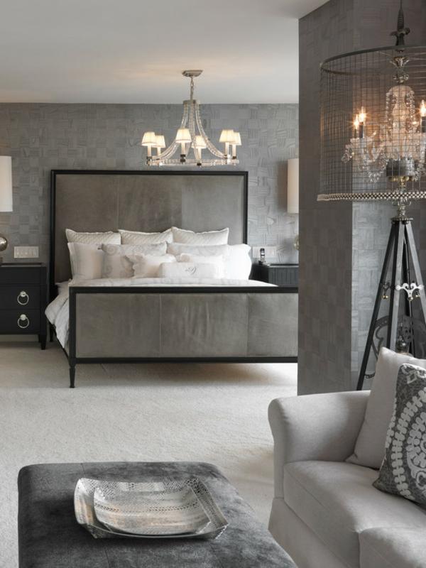 schlafzimmer ideen zeitgenössisch grau bett sitzecke