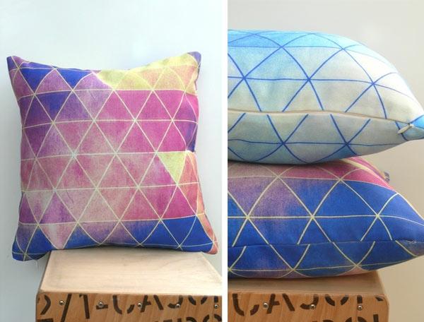 sofakissen geometrische muster pastellfarben
