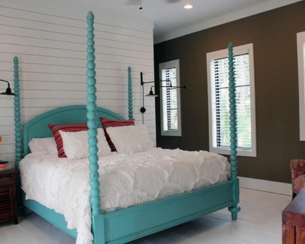 tropisches schlafzimmer ideen himmelbett blau
