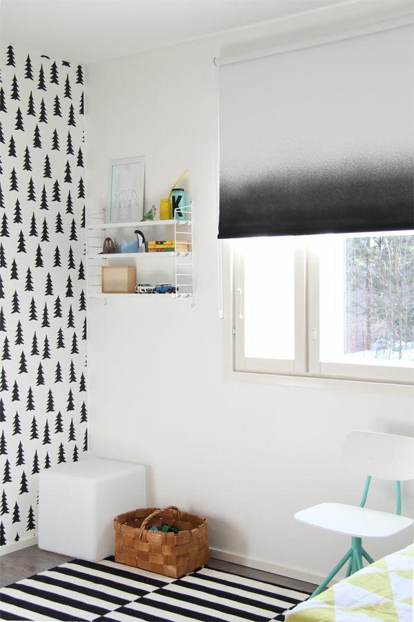 verdunkelungsrollo kinderzimmer gestalten schwarz weiß