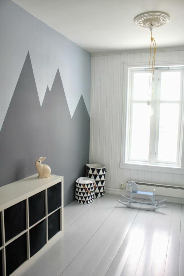wandbemalung kinderzimmer geometrische gestaltung - Wandbemalung Kinderzimmer