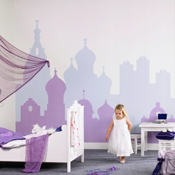 wandbemalung kinderzimmer magnetisch lila schloss - Wandbemalung Kinderzimmer