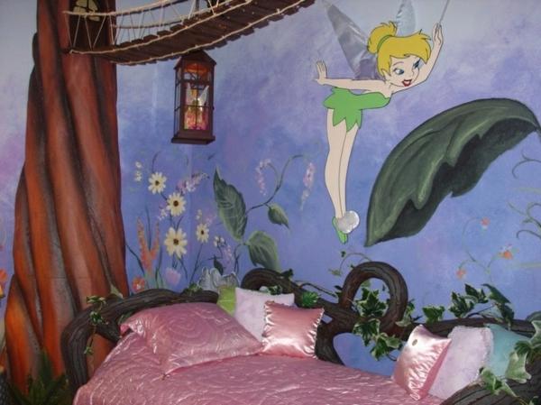 wandbemalung kinderzimmer tinkerbell wald - Wandbemalung Kinderzimmer