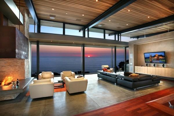 wohnzimmer einrichten groß fenster reinigen warme farbtöne