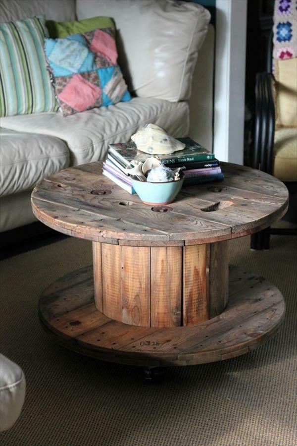 Kabeltrommel Holz Tisch Bauen ~ DIY Holz Wohnzimmermöbel aus Kabeltrommeln