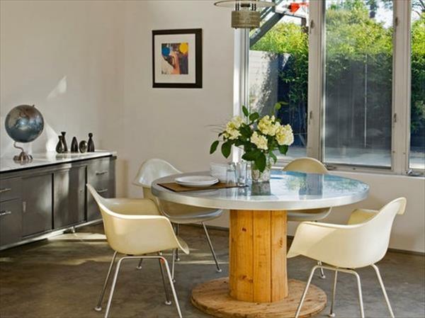 DIY Holz Wohnzimmermöbel aus Kabeltrommel esstisch