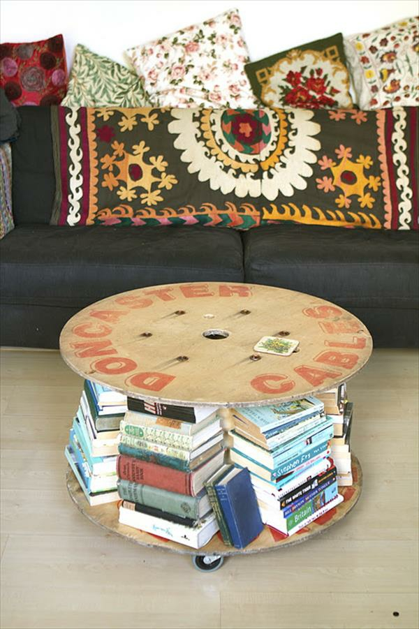 DIY Holz Wohnzimmermöbel aus Kabeltrommel schubladen