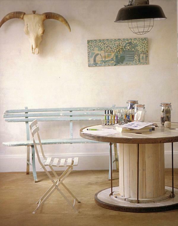 DIY Holz Wohnzimmermöbel aus Kabeltrommel wanddeko