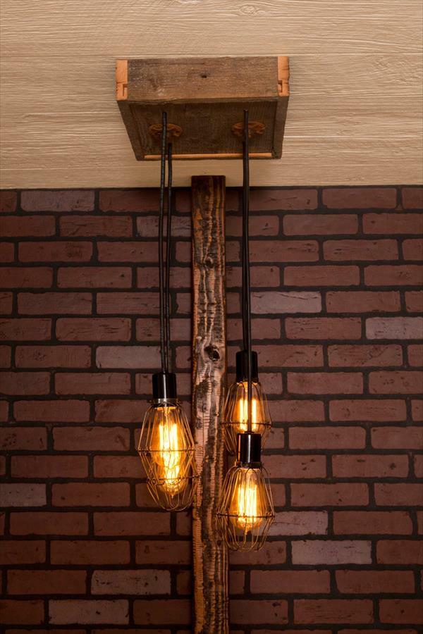 Hängelampe Holz Selber Bauen ~ industriell touch Kronleuchter aus Europaletten hängelampe