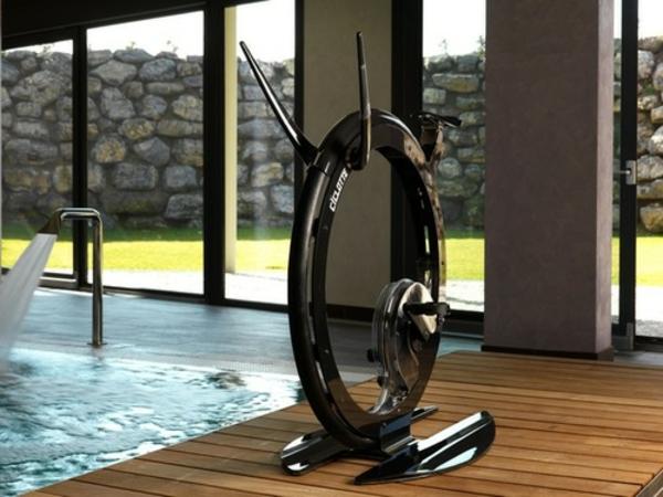 Fitness Fahrrad Heimtrainer stein mauer pool