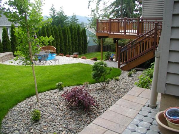 schöne gartengestaltung mit steinen und kies, Gartenarbeit ideen