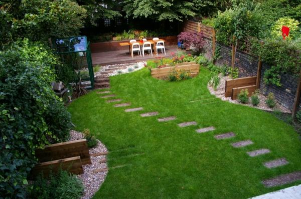 Gartengestaltung mit Steinen und Kies rasenfläche