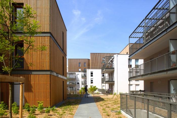 Modernes Wohnen und nachhaltiges Bauen in einem Stadtviertel in Lyon