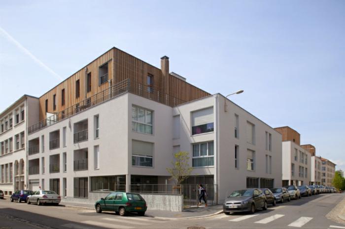modernes wohnen und nachhaltiges bauen in einem stadtviertel in lyon. Black Bedroom Furniture Sets. Home Design Ideas