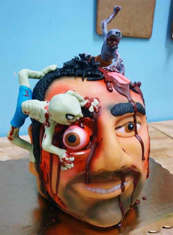 Halloween Kuchen Deko geschnitten kopf