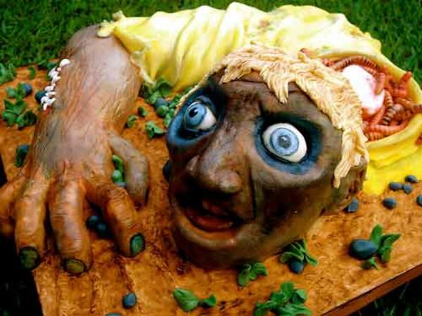 Halloween Kuchen Deko zombie kopf