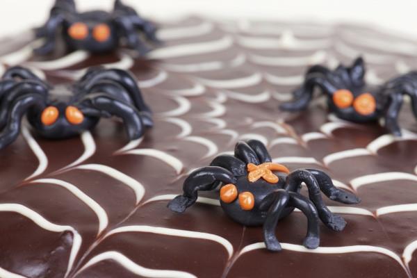 Halloween Party Essen glasur torte netz spinne