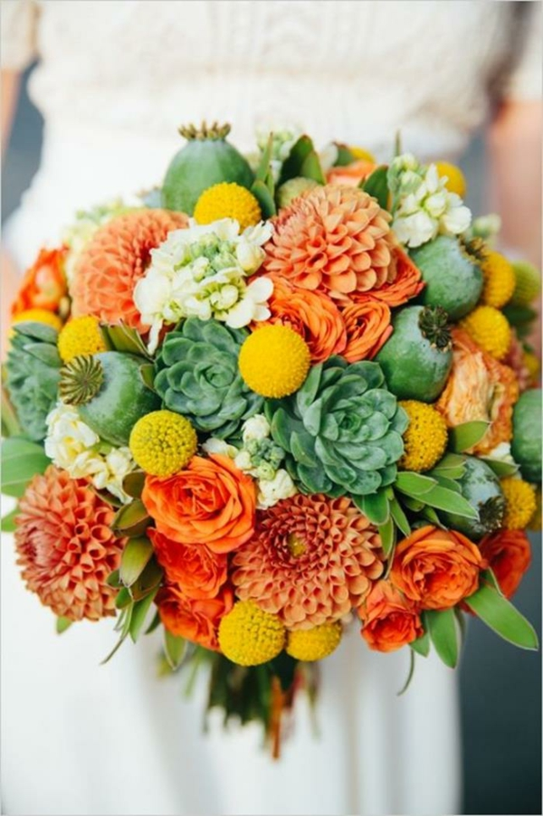 Hochzeitsblumen Coole Brautsträuße orange rot